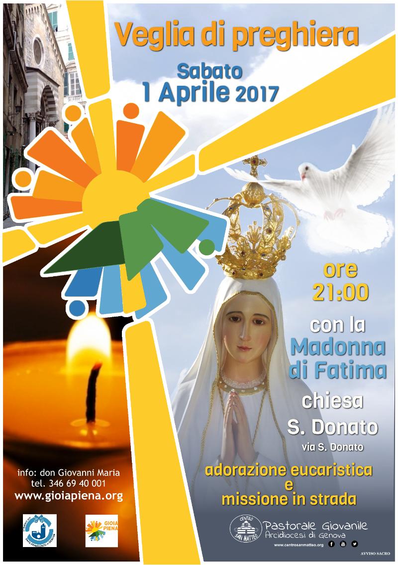 1 aprile veglia di preghiera con la madonna di Fatima
